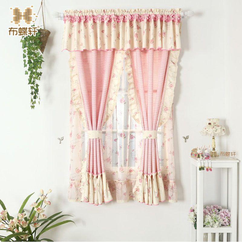 Rideau drapé rose Floral pour salon chambre princesse rideaux avec volant fenêtre traitement enfants rideaux en coton
