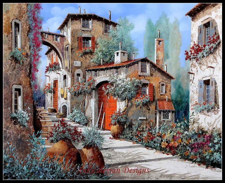 Needlework for embroidery DIY DMC High Quality - Counted Cross Stitch Kits 14 ct Oil painting - Between the Houses II