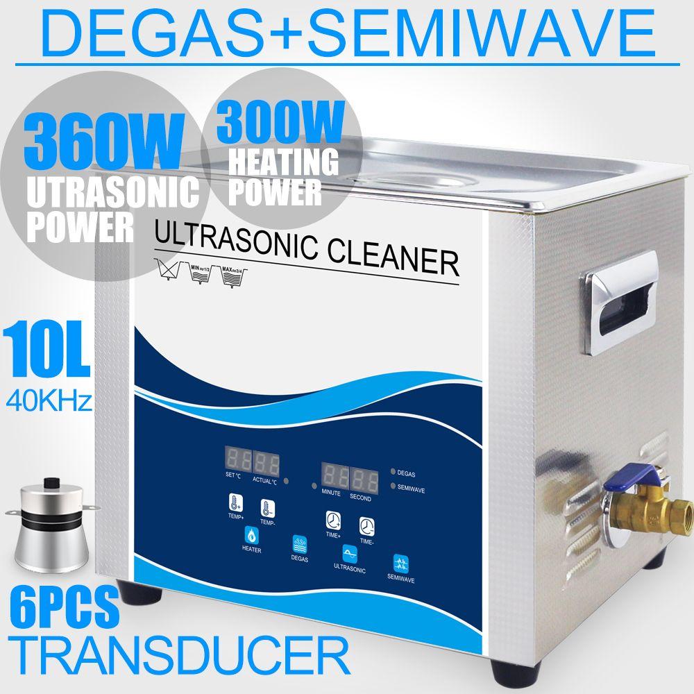 10L Ultraschall Reiniger Bad Degas Heizung 360 watt/240 watt Semi Welle Modus Ultraschall washer Dental Labor Optische Linse jade Glaswaren Werkzeuge