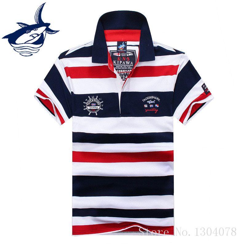2017 High Quality Tops&Tees Men's Tace <font><b>Shark</b></font> Polo Shirts fashion Style Summer Striped <font><b>Shark</b></font> brand short sleeve polo shirt men