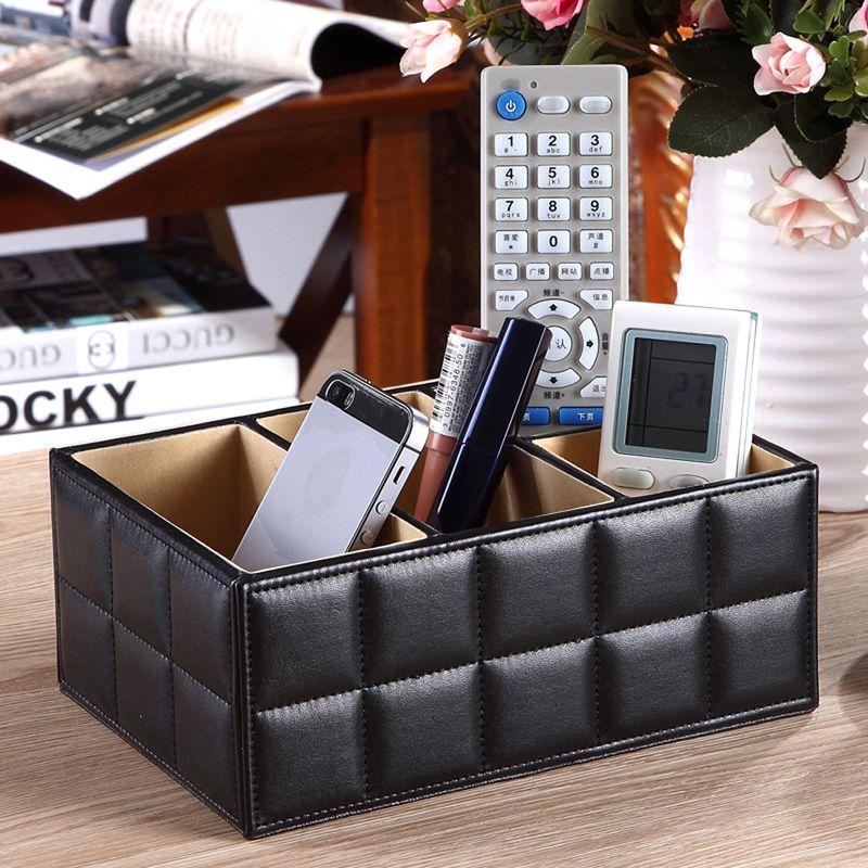 Newst PU cuir boîtes de rangement de luxe pour télécommande téléphone cosmétique maquillage conteneur maison bureau voiture organisateur noir blanc
