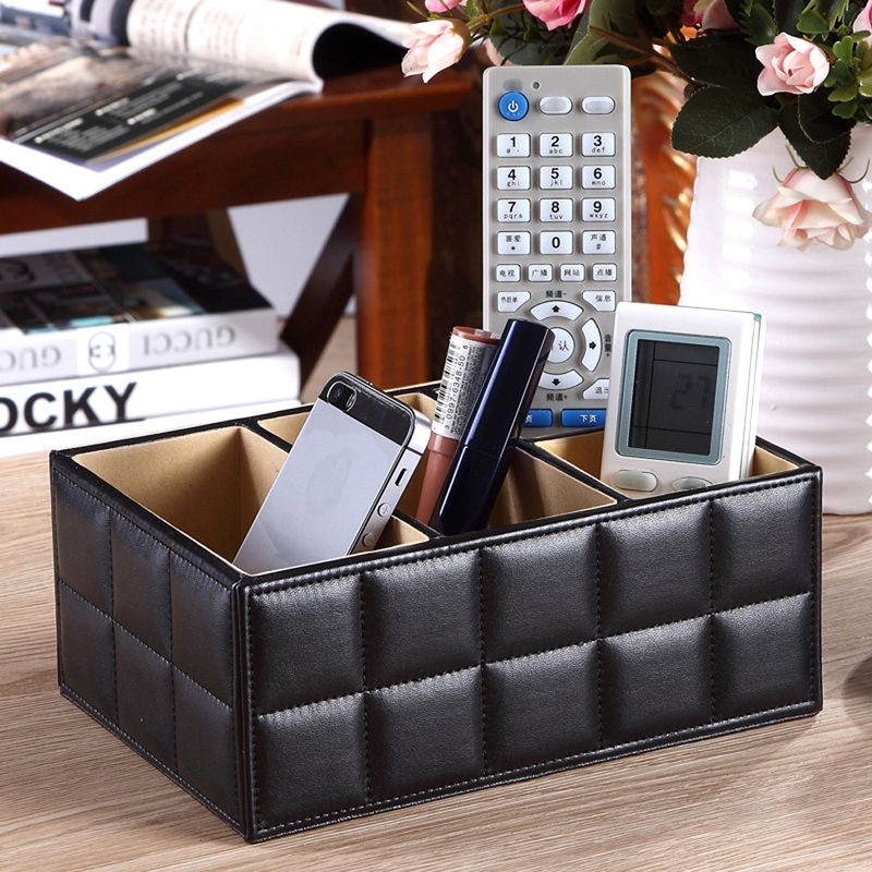PU Leather Storage Boxes Luxury for Remote Control Phone Cosmetic <font><b>Make</b></font> Up Container Home Office Car Organizer Black White