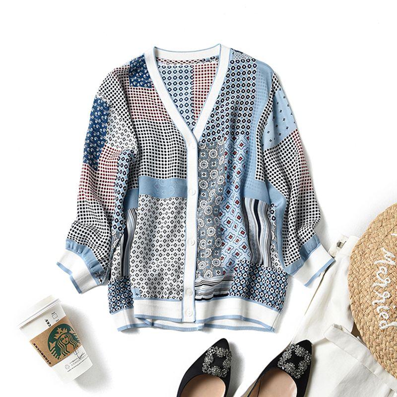 Bluse Frauen Strickjacke 100% Seide Gedruckt Patchwork Design V Neck Drei viertel Ärmeln Casual Sonnenschutz Kleidung Mode 2019