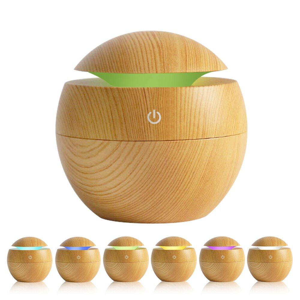 Mini humidificateur d'air en bois Gra aromathérapie humidificateur à ultrasons diffuseur USB LED à couleur changeante