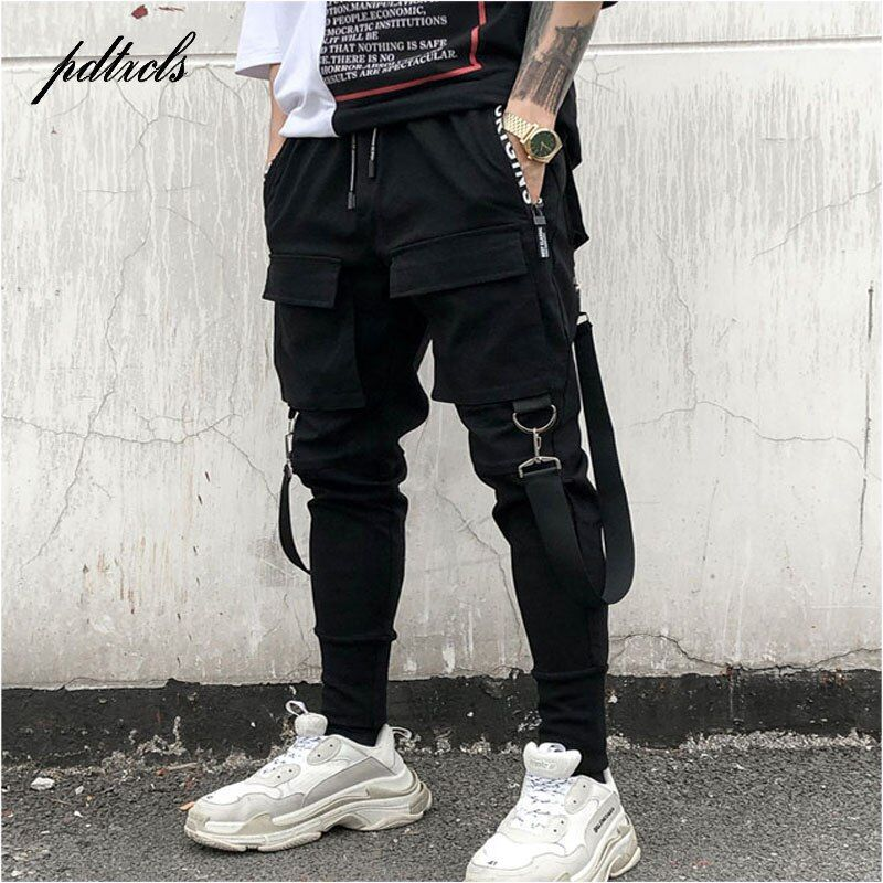 49Hot Side Pockets Pencil Pants Men's Hip Hop Patchwork Cargo Ripped Sweatpants Joggers Trousers Male Fashion Full Length Pants