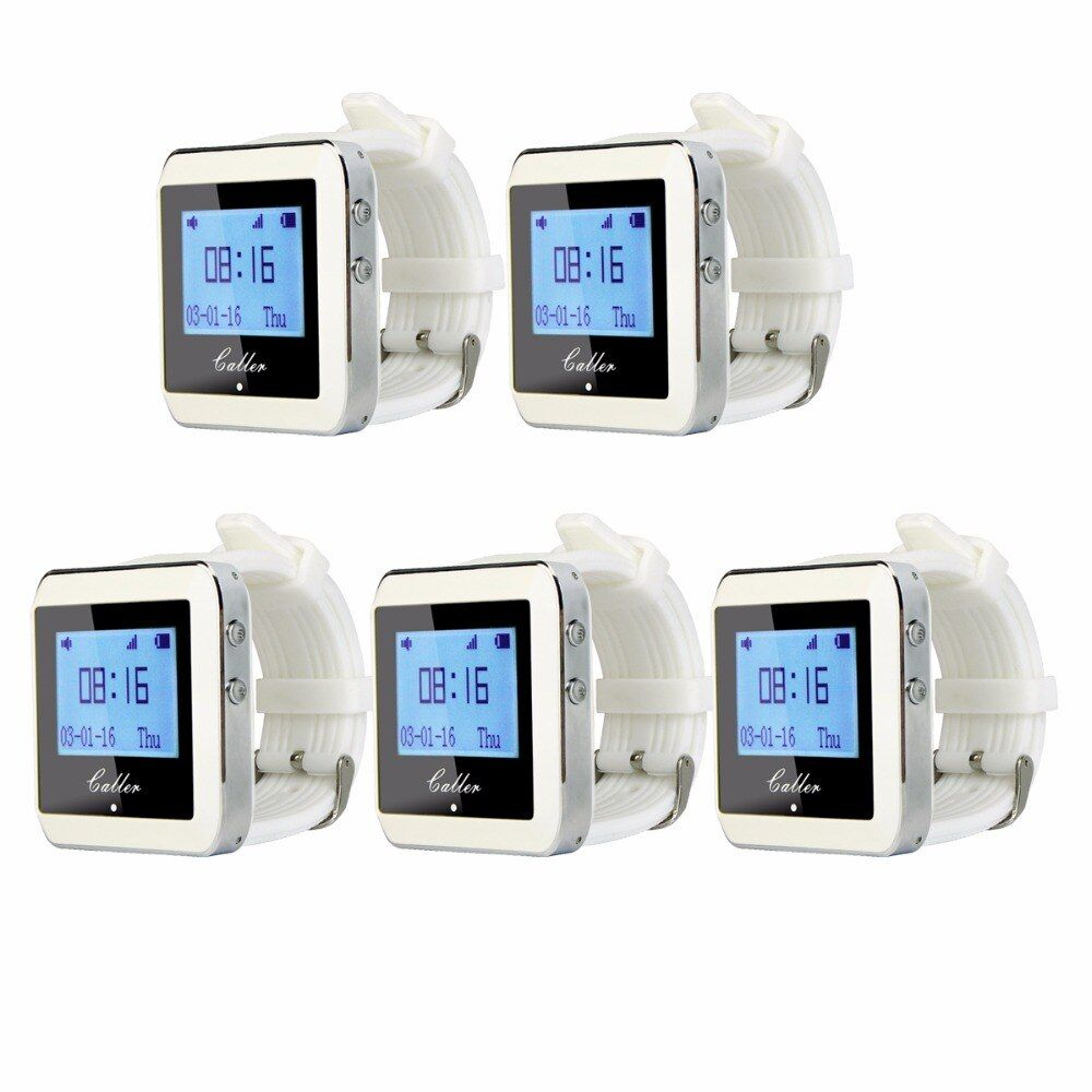 5pcs TIVDIO 433MHz 999 Channel Watch Pager Receiver Waiter Call Pager Wireless Calling System Restaurant Equipments F3288B