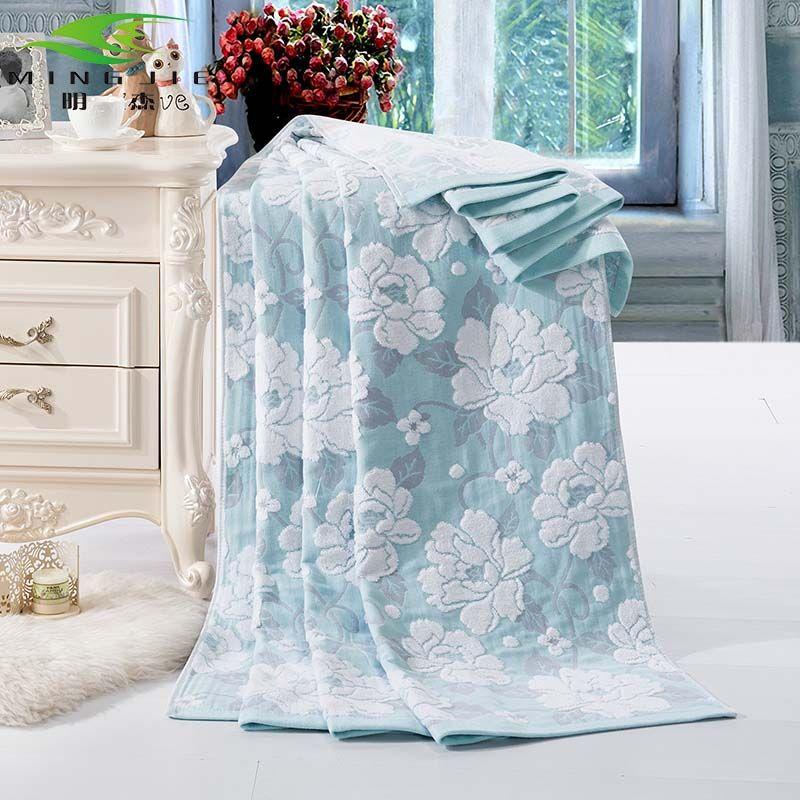 Ming jie nouvelle mode chine coton serviette couvertures pour lits bain pivoine 1 pièces couvre-lit ensemble de literie couette feuille canapé voyage en gros
