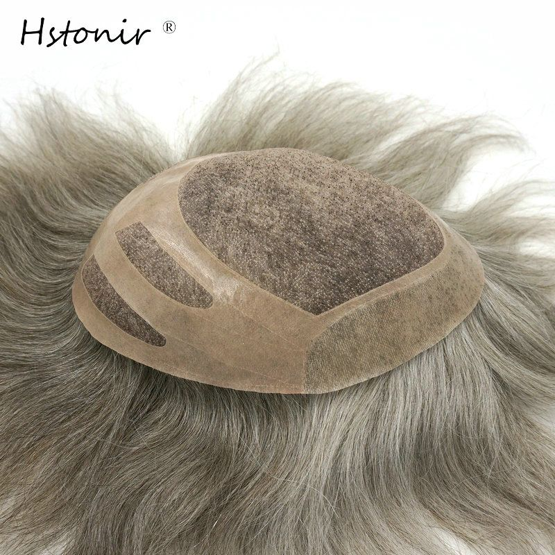 Hstonir Grey Mono Lace Human Indian Hair Toupee For Men Hair Color Permanent Para Cabelo H033
