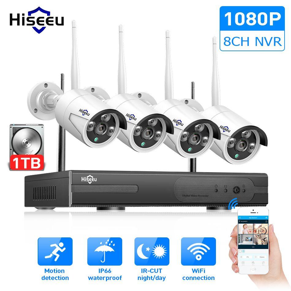 Hiseeu 8CH Wireless CCTV System 1080P 1TB HDD 2MP NVR IP IR-CUT outdoor CCTV Camera IP Security System Video Surveillance Kit