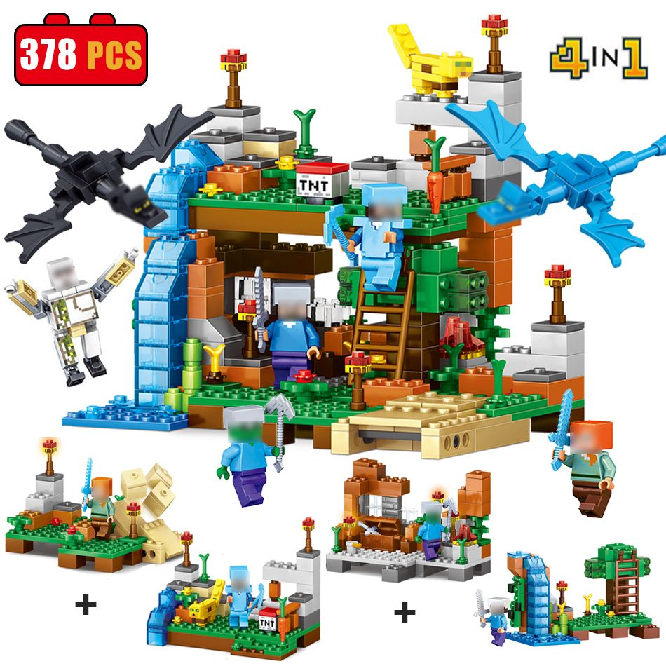378pcs 4 in 1 MY WORLD Compatible Legoed Minecrafted figures Building Blocks Bricks Set Educational toys for children 2017 gift