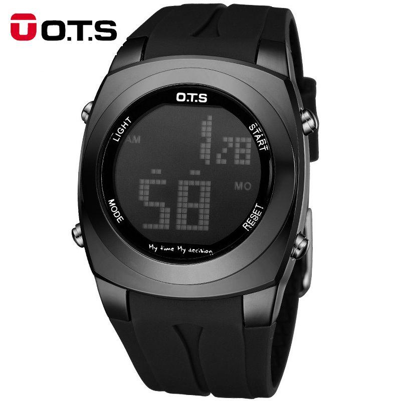 Marque OTS Original créatif grand nombre Style hommes Relojes Sport étanche AlarmLED numérique montres de mode Relogio Masculino