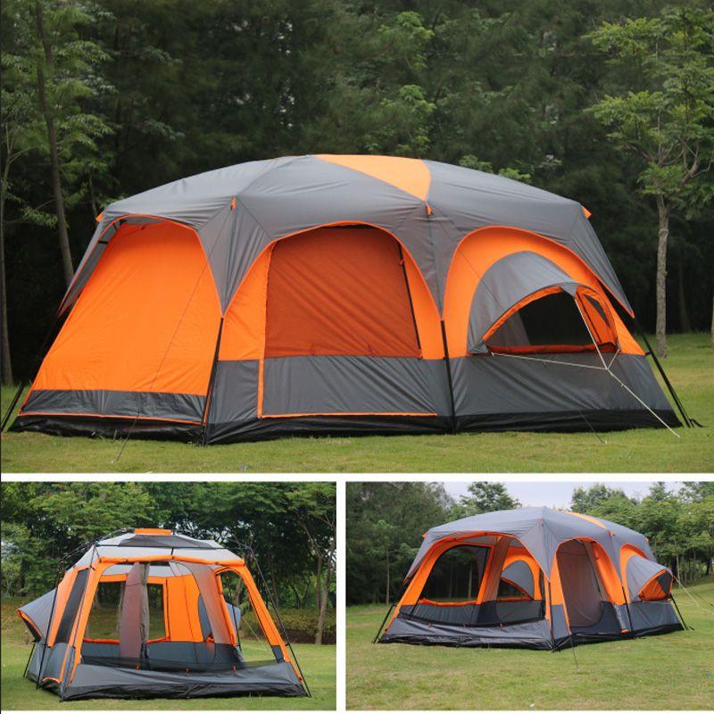 Luxe ultralarge haute qualité un hall deux chambres 6 8 10 12 extérieur camping tente 215 cm hauteur étanche partie famille tente