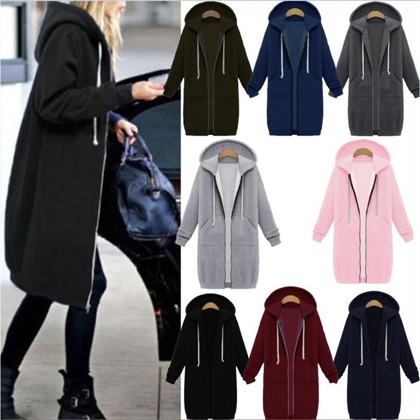 Automne Winte Femmes Casual Longue Fermeture Éclair À Capuchon Veste Hoodies Sweat Vintage Plus La Taille 5XL Rose Outwear Sweat À Capuche Manteau Vêtements