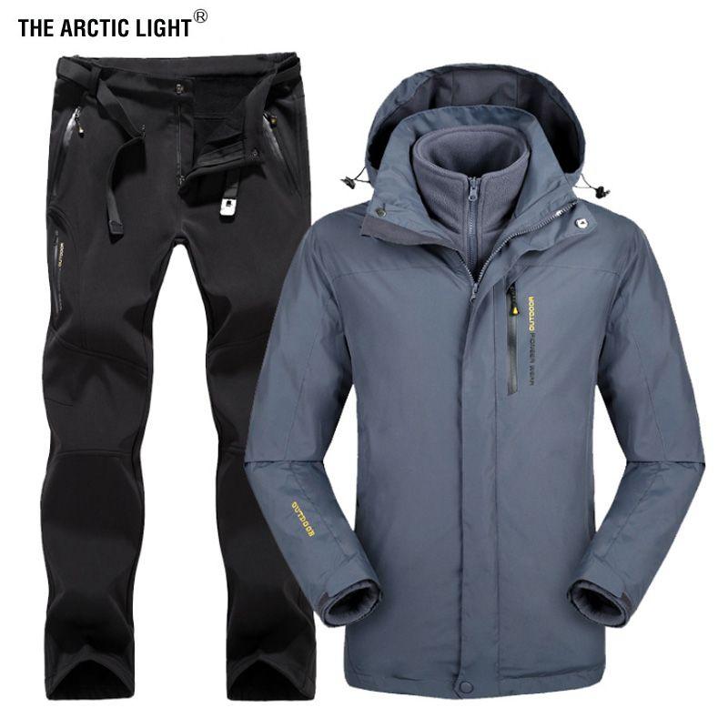 DIE ARKTISCHEN LICHT Winter Männer Outdoor Ski Jacke Anzüge Wandern Camping Sport Fleece windjacke Thermo-fleece Hosen Sets
