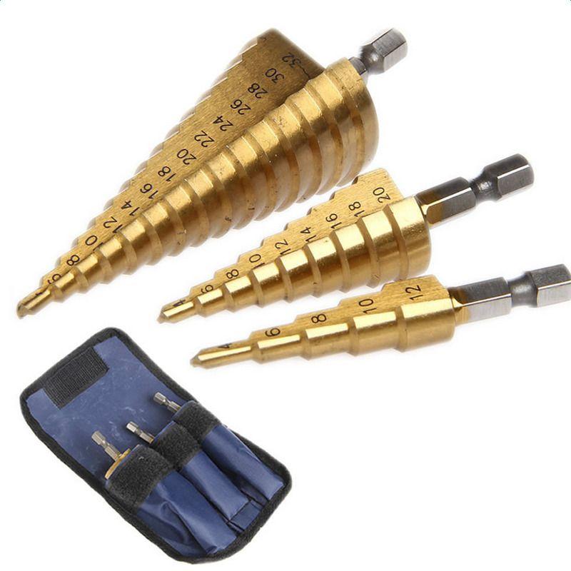 PEGASI 3 pc Hss pas à pas cône conique foret pour métal plastique trou Cutter métrique 4-12/20/32mm 1/4