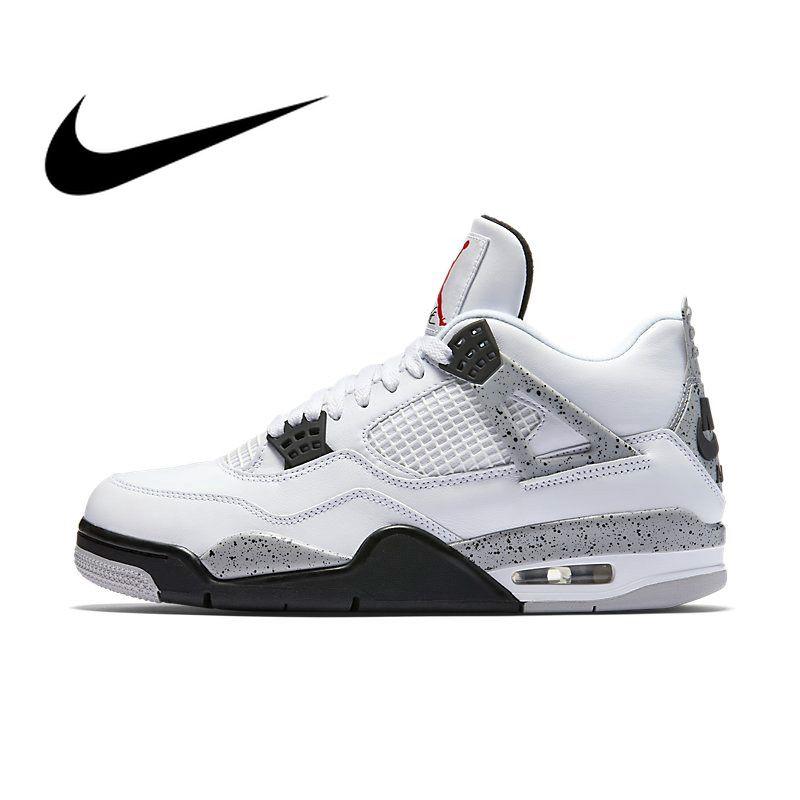 Original Authentischen Nike Air Jordan 4 OG AJ4 Weiß Zement männer Basketball Schuhe Sneakers Sportlich Designer Schuhe 2019 Neue