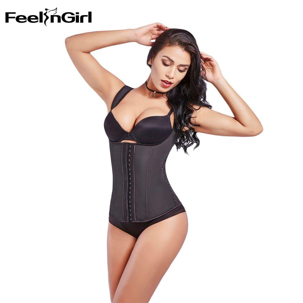 FeelinGirl Latex Waist Cincher Vest Chest Binder Body Shaper For Women Corset Slimming Plus Size 6XL Push Up Waist Trainer