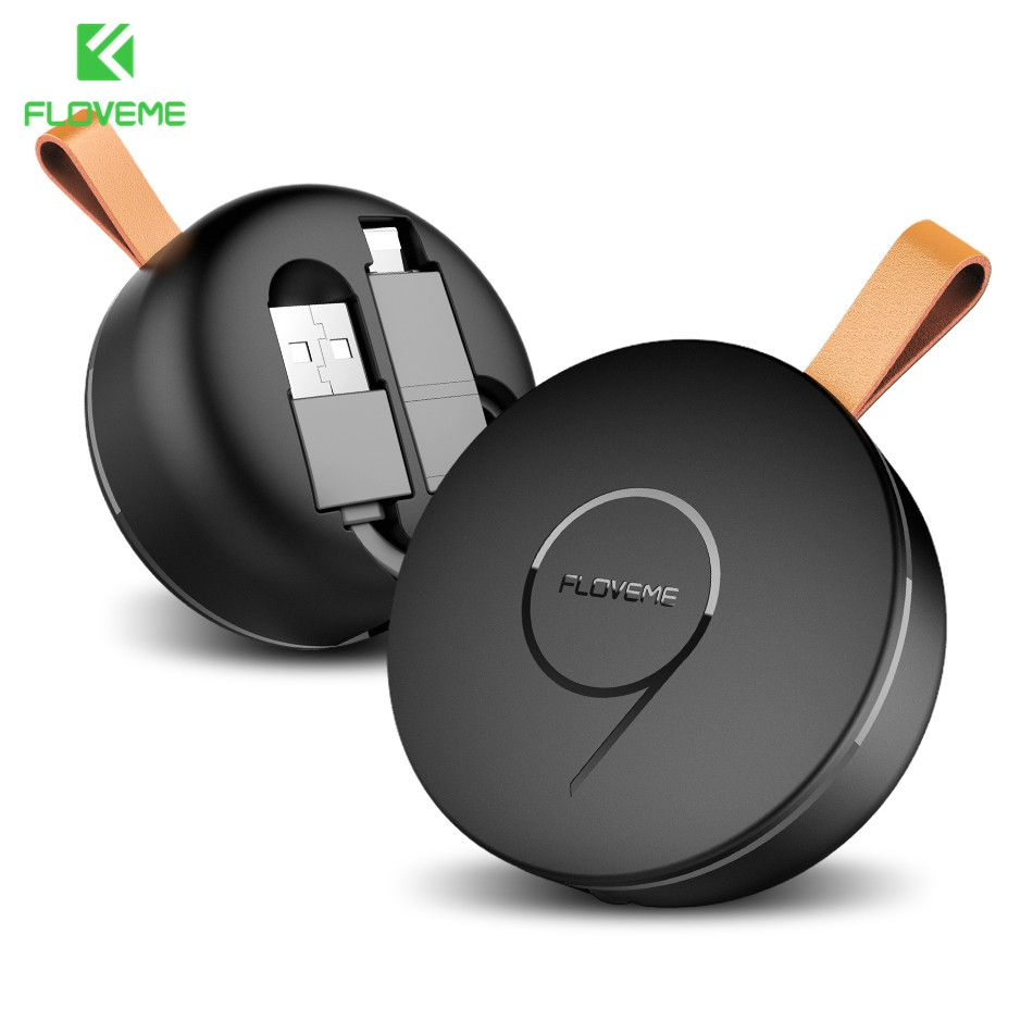 FLOVEME Retractable USB Phone Cable For Lightning Micro USB Charger 2 in 1 For iPhone X 8 IOS Android Charging Data Sync Cable