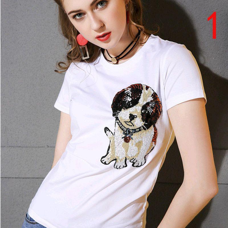 2018 Summer New Mercerized Cotton Short Sleeve Neck T-shirt Slim Dog Embroidery T-shirt