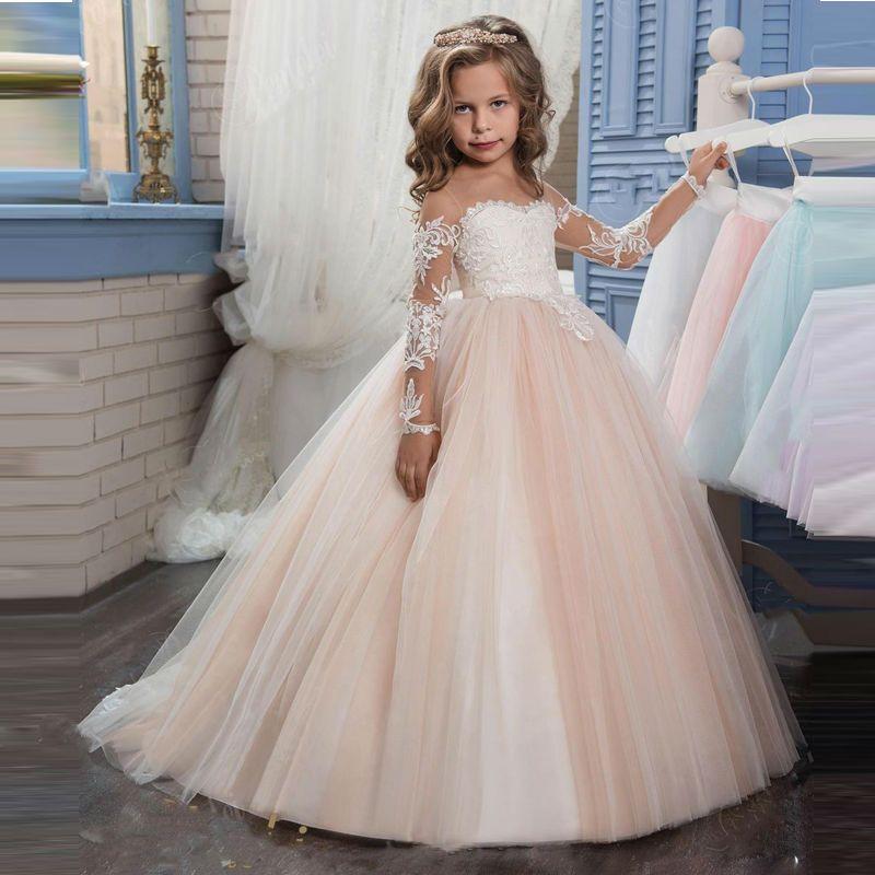 Новый Шампанское пышные Платье с кружевными цветами для девочек для свадьбы одежда с длинным рукавом бальное платье для девочек вечерние п...