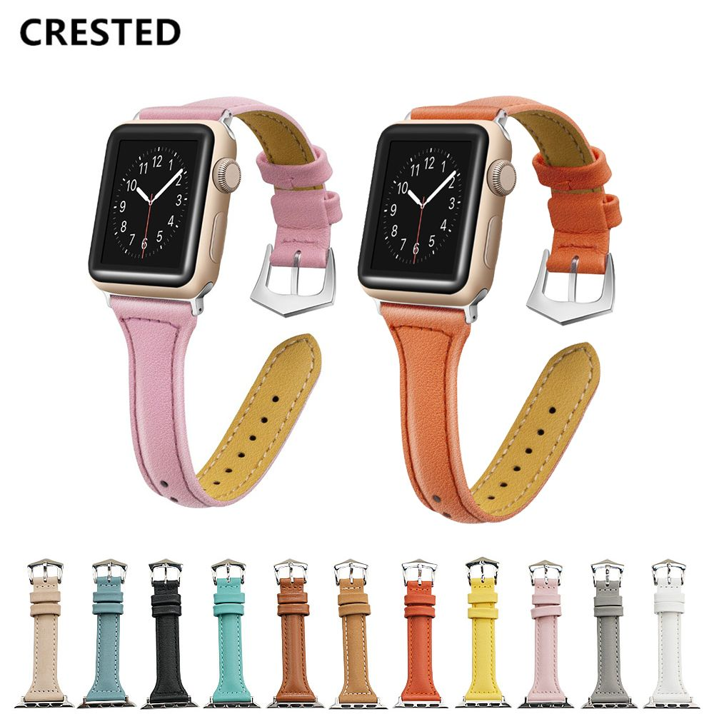 CRESTED Leather strap For Apple Watch band 42mm 38mm iwatch series 4 3 21 correa bracelet Wrist belt Watchband for apple watch 4