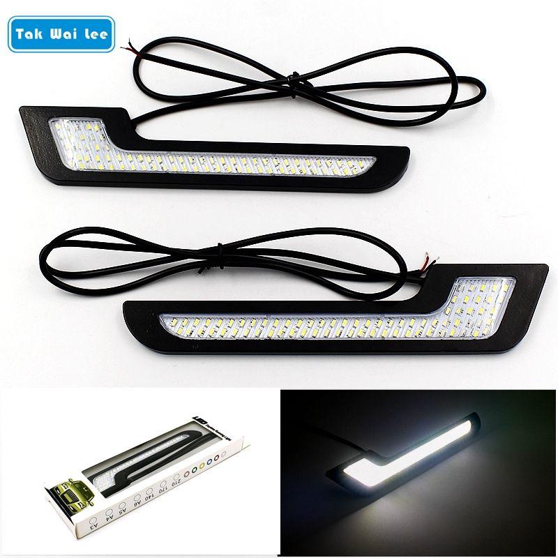 Tak Wai Lee 2X LED DRL Feux de jour Style Super Lumineux Étanche Externe Voiture Conduite Véhicule Lumière du Jour Avec bâton