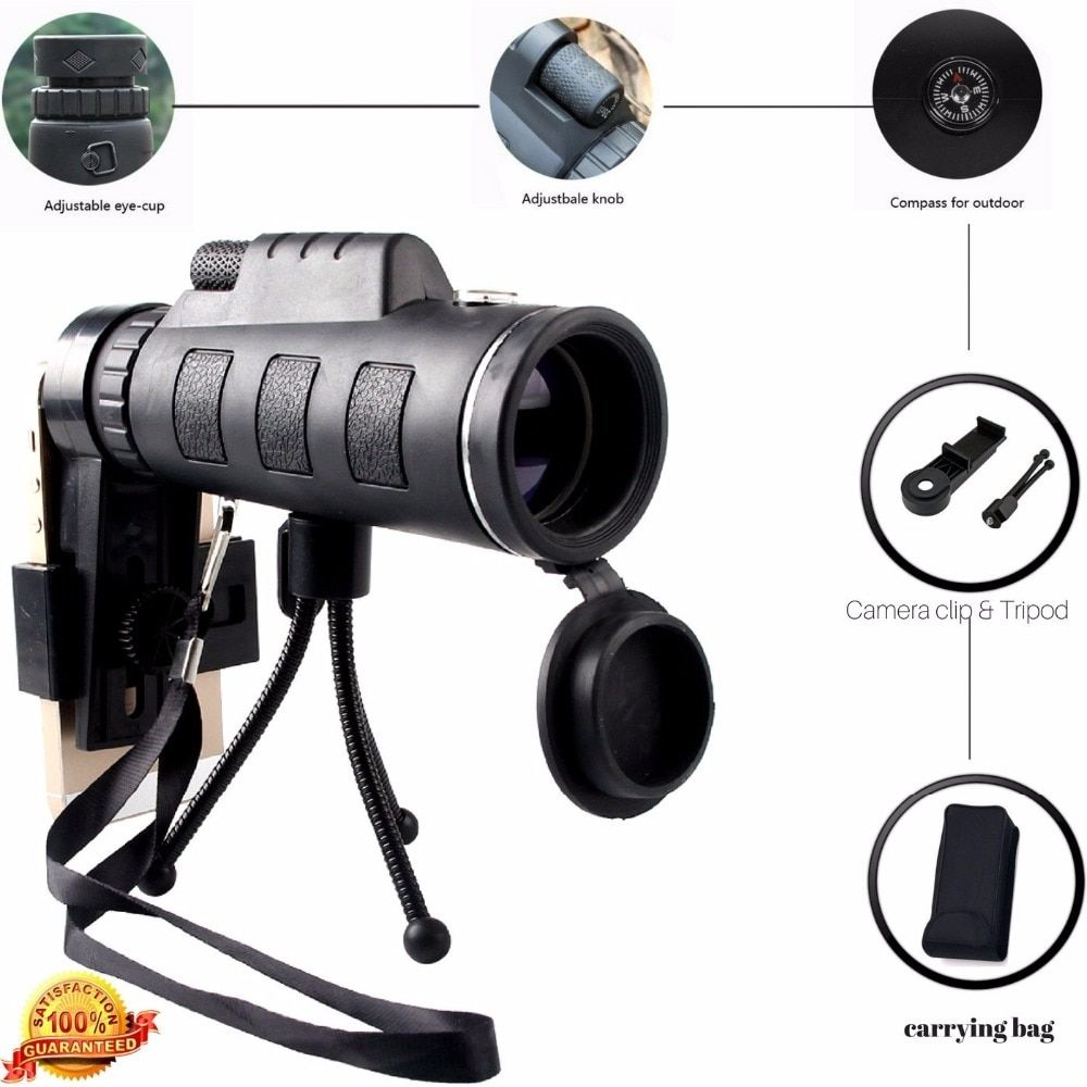 40X60 Zoom HD Dual for Focus Optical Prism Monocular Telescope Lens with Tripod Clip for Smart Phones Photograph Adjustable