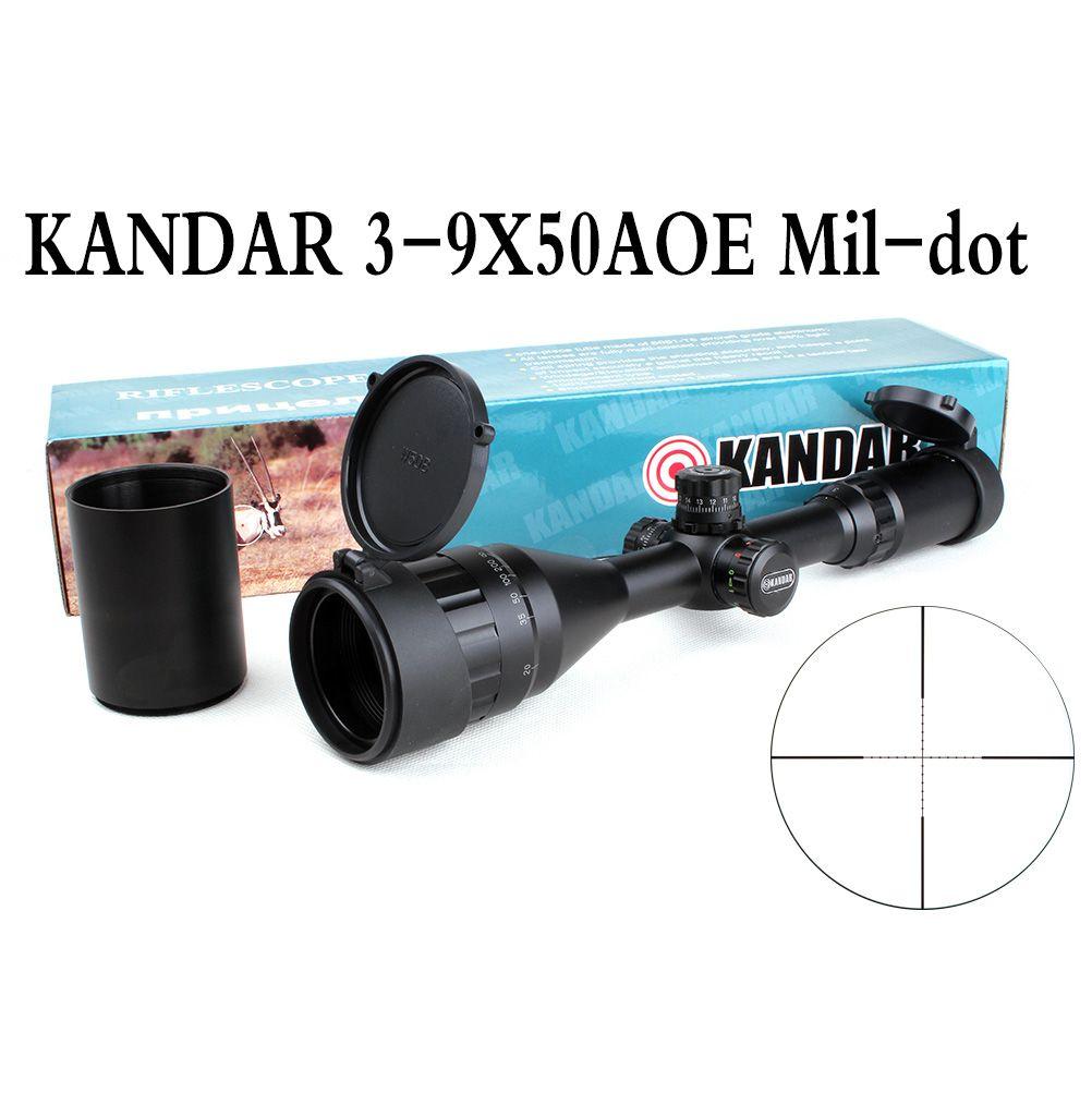 Tactical Optical Sight KANDAR 3-9x50 AOE Mil-dot Reticle RifleScope Locking/Resetting Hunting Rifle Scope