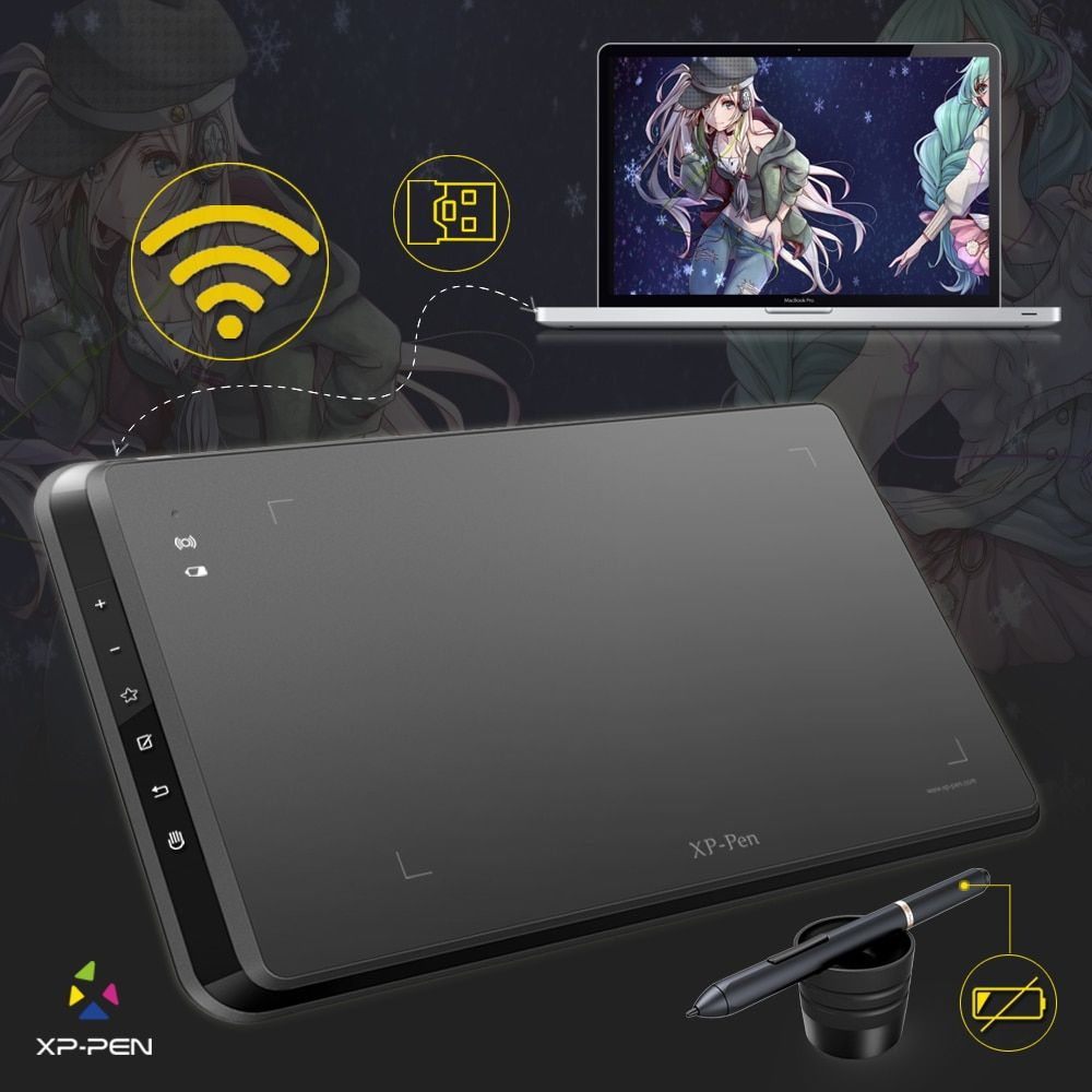 XP-Pen Star05 Wireless Battery-free Stylus Graphics Drawing Tablet/Drawing Board with Touch Express Keys openCanvas for Gift