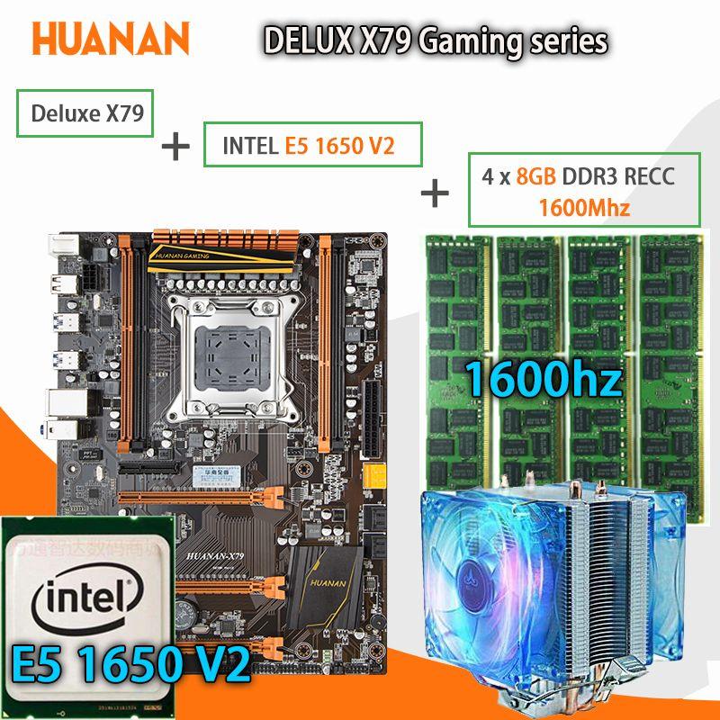 HUANAN golden Deluxe X79 gaming motherboard LGA 2011 ATX CPU E5 1650 V2 SR1AQ 4 x 8G 1600Mhz 32GB DDR3 RECC Memory with cooler