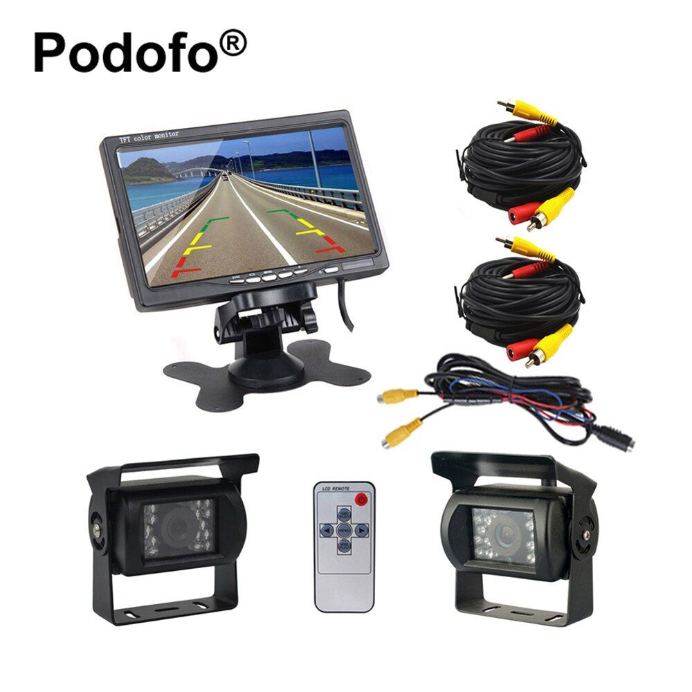 Podofo Dual Backup Camera and Monitor Kit for Bus Truck RV IR Night Vision Waterproof Rearview Camera + 7