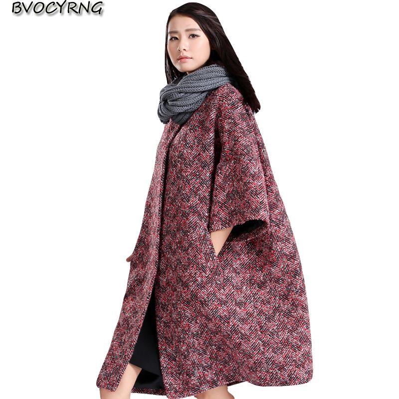 Autumn and Winter Cloak Woolen Coat Female Long Korea Loose Jacket Winter Thick Bat Sleeve Woolen Coats Women High end Trench