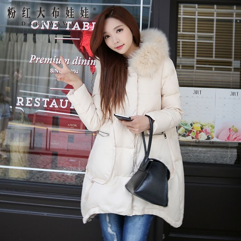 original 2017 brand winter real fox fur collar thick warm high quality korean loose hooded down coat women wholesale