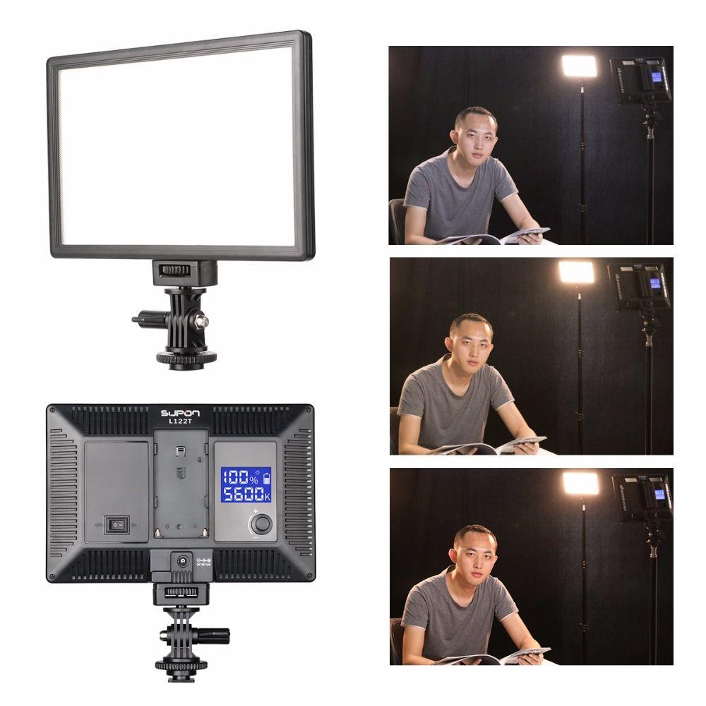 SUPON L122T LED 3300 K-5600 K Ultra mince LCD Bi-Couleur et Dimmable Studio Vidéo Lumière Lampe panneau pour Caméra DV Caméscope
