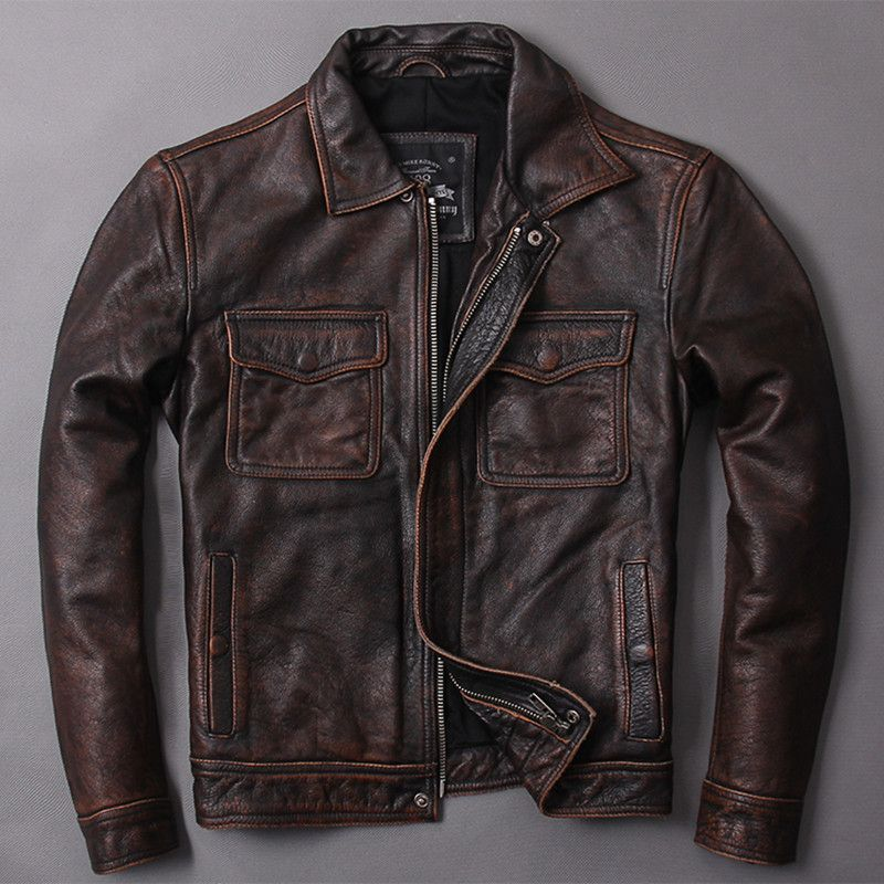 HARLEY DAMSON Vintage Brown Men Classic Casual Leather Jacket Plus Size 5XL Slim Fit Real Cowhide Autumn Russian Leather Coat