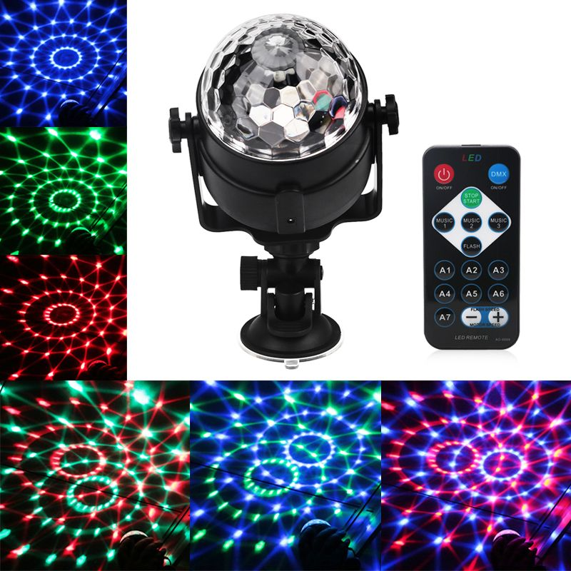 Mini RGB LED Crystal Magic Ball Stage Effect Lighting Lamp Bulb Sound Activated Projector Party Disco Club DJ Light Show Lumiere