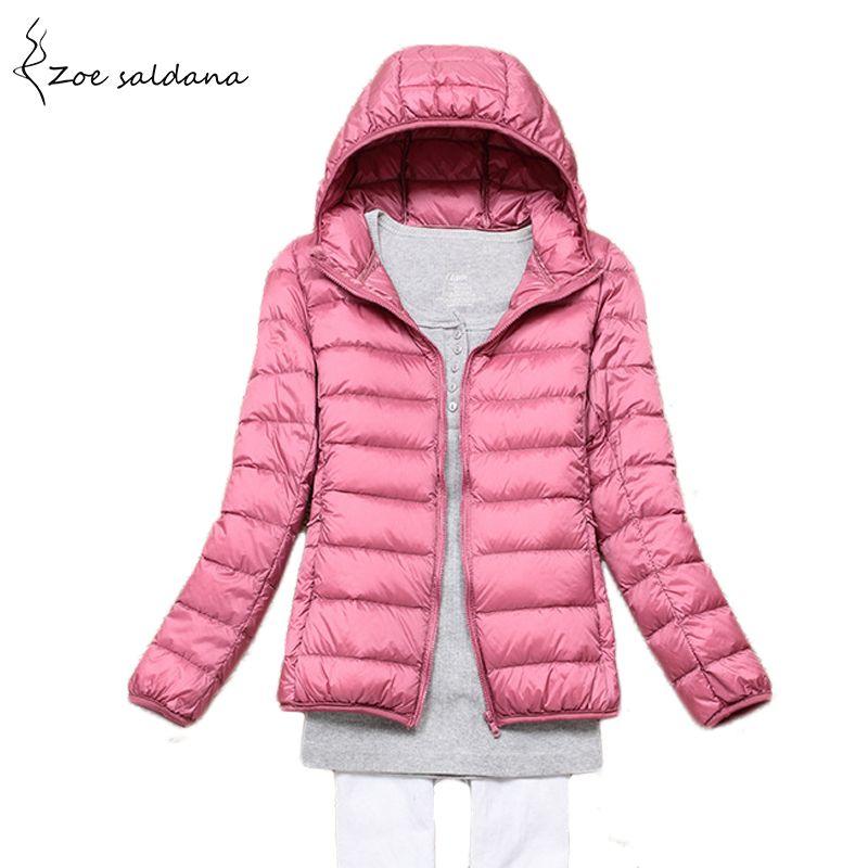 Zoe Saldana 2017 Winter Warm Down Coat Women Ultra Light White Duck Down Jacket With Bag Women Thin Hooded Autumn Jackets