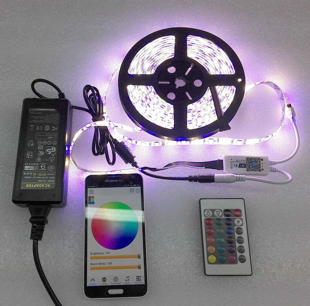 5M Waterproof IP65 RGBW / RGBWW LED Strip Light 5050 SMD 60LEDs/m + Wifi Controller By Phone APP + DC 12V Power Adapter
