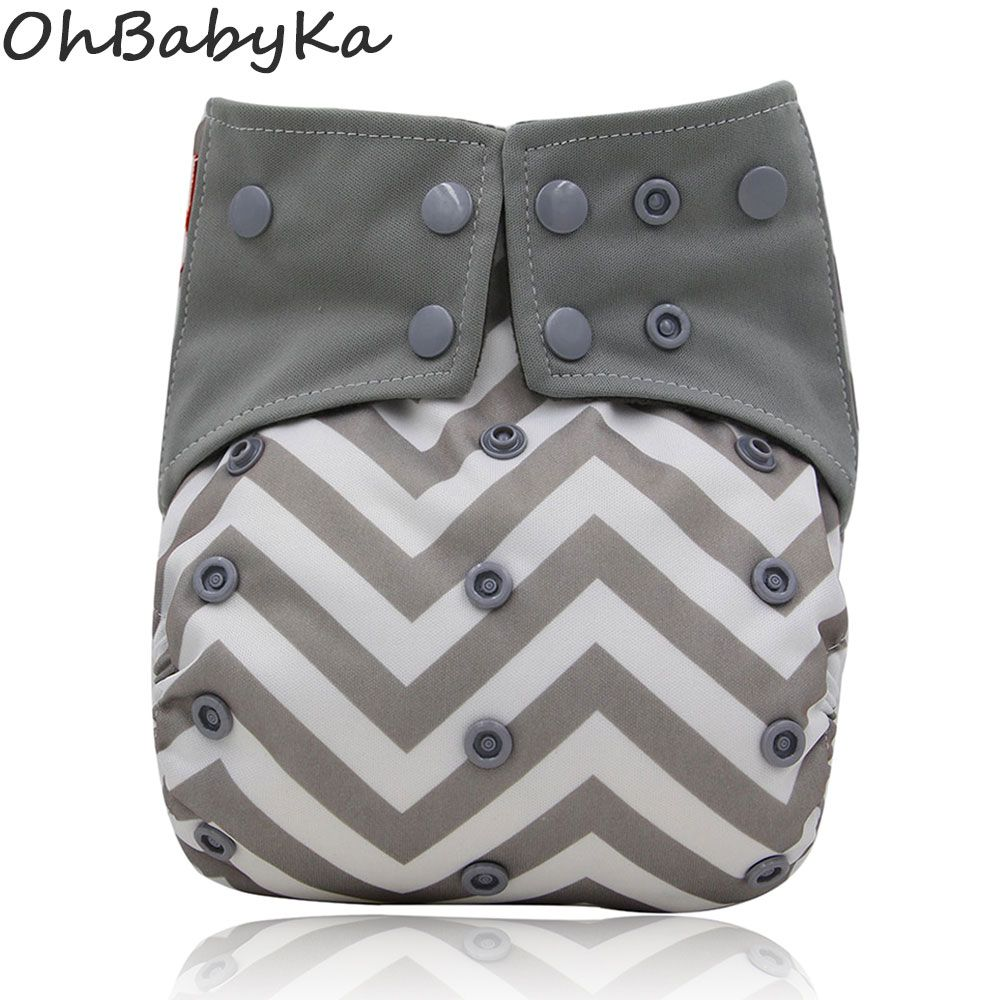 Ohbabyka One Size All-in-one AIO Washable Reusable Pocket Cloth Diaper Nappy Built-in Microfiber Insert Adjustable Baby Diapers