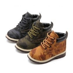 Child Baby Girls Shoes Thick Army Style Leather Student Kids Boys Shoes Martin Boots Children Booties Toddler Anti-Slip BFOF