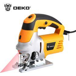 DEKO Laser Scie Sauteuse avec LED Lumière, à Vitesse variable Comprend 6 pcs Lames, métal Règle, Tuyau de la poussière, Allen Clé Scie Électrique Outils