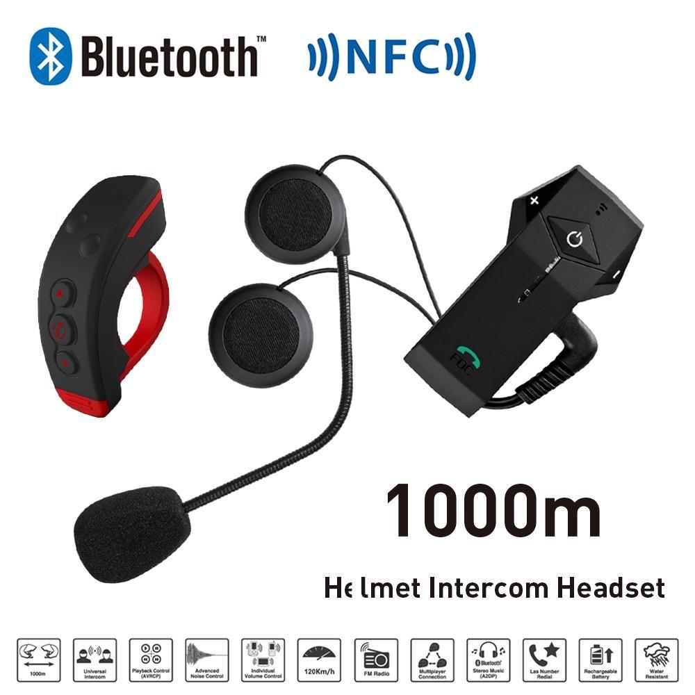 Freedconn Helmet Headset Bluetooth Intercom for Motorcycle BT NFC FM Snowmobile Helmet  Interphone + L3 Remote Control 1000m
