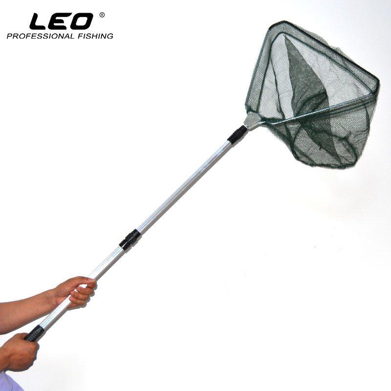 LEO Tragbare 3 Abschnitt Erweiterbar Aluminium Pol Angeln Kescher Dreieckige Brail Angeln Scoop Net 65-173 cm Angeln werkzeug