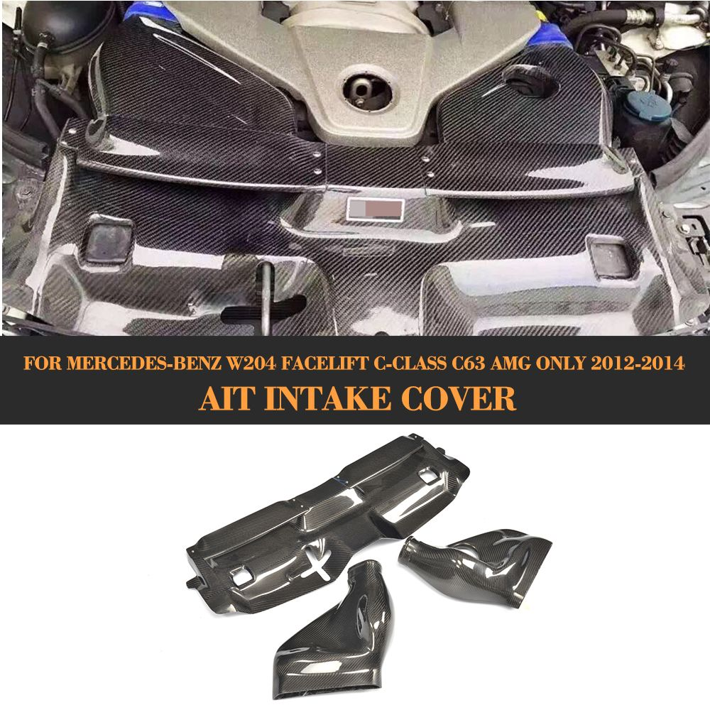 C Klasse 3 PCS Auto Kalten Luftfilter Intake System Abdeckung für Mercedes Benz W204 Facelift C63 AMG Nur 2012 -2014 Carbon Faser Abdeckung
