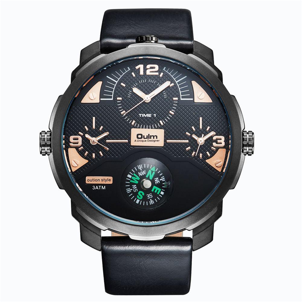 Oulm Compass Decoration Sports Men Watches Luxury Brand Male Big Quartz Clock Three Time Zones PU Leather Military Wrist Watch