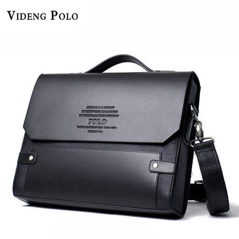 VIDENG POLO Brand Leather Messenger Bags For Men Shoulder Bag Business Briefcase Bag Fashion Rivet Hard Leather Male Handbag