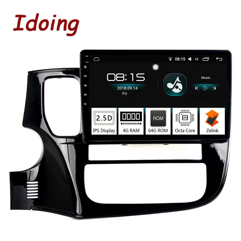 Idoing 10,2 4G + 64G 8 Core Auto Android 8.0 Radio Multimedia Player Fit Mitsubishi Outlander 2014- 2017 2.5D IPS GPS Navigation PX5