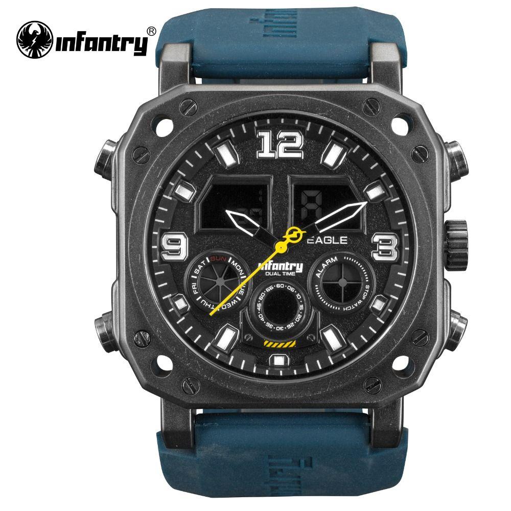 INFANTRY Military Watch Men LED Digital Quartz Wristwatch Mens Watches Top Brand Luxury Square Glow In Dark relogio masculino