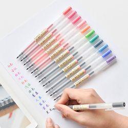 12 Pcs/lot Gel Pen 0.5 MM Warna Tinta Pena Pembuat Pena Sekolah Kantor Pasokan MUJI Gaya 12 Warna
