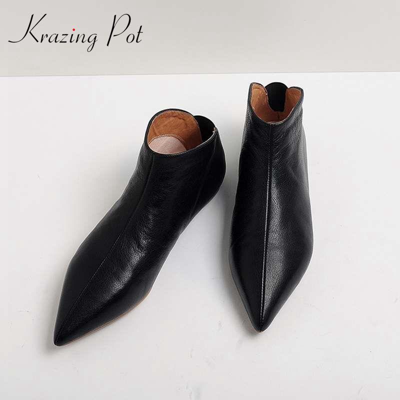 Krazing Pot pleine fleur en cuir souple peau hiver printemps fille moderne bout pointu glissement sur appartements occasionnels jeune femme enceinte chaussures L31